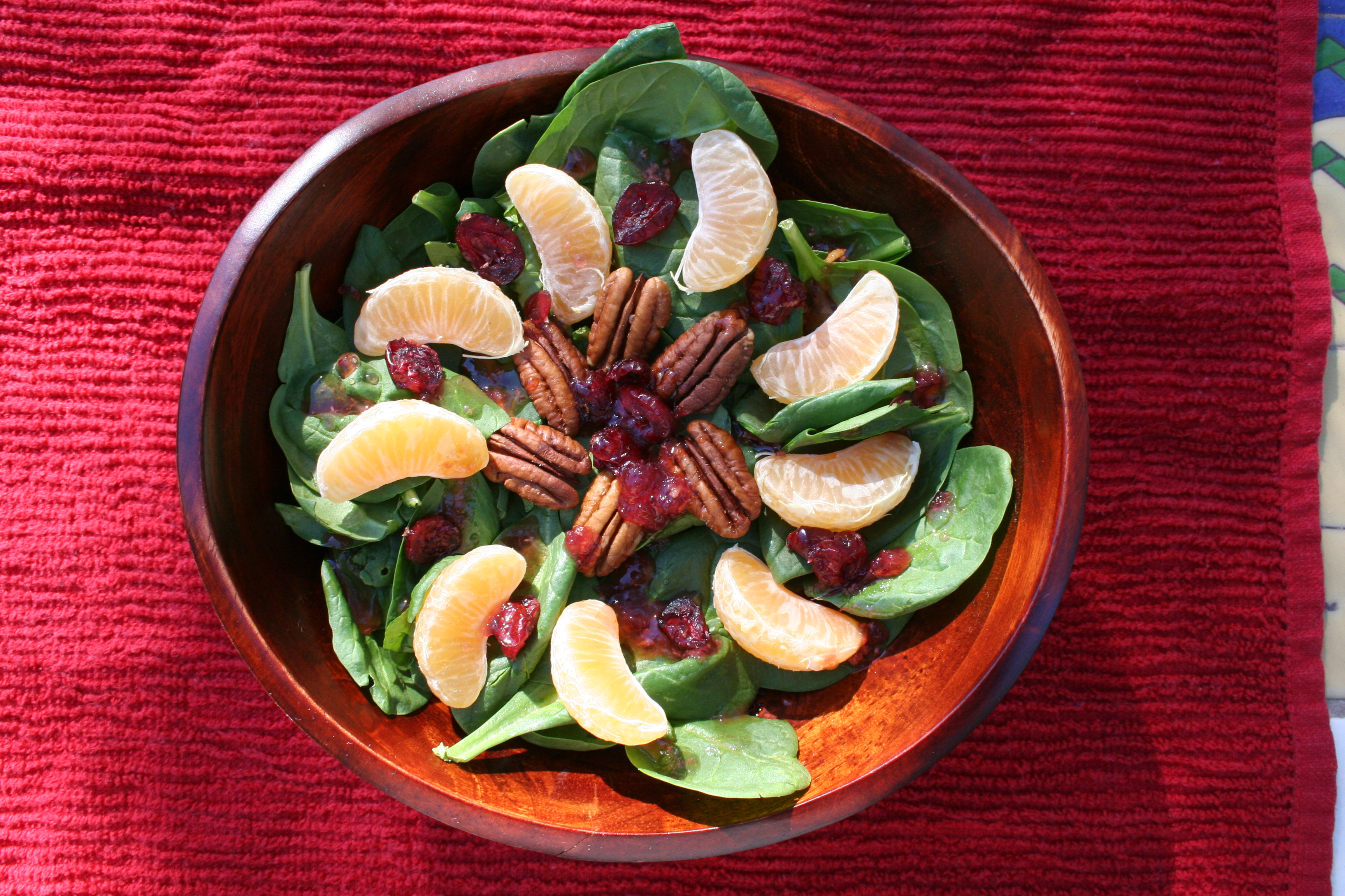 Cranberry, Tangerine, and Pecan Salad with Cranberry Orange Vanilla Dressing