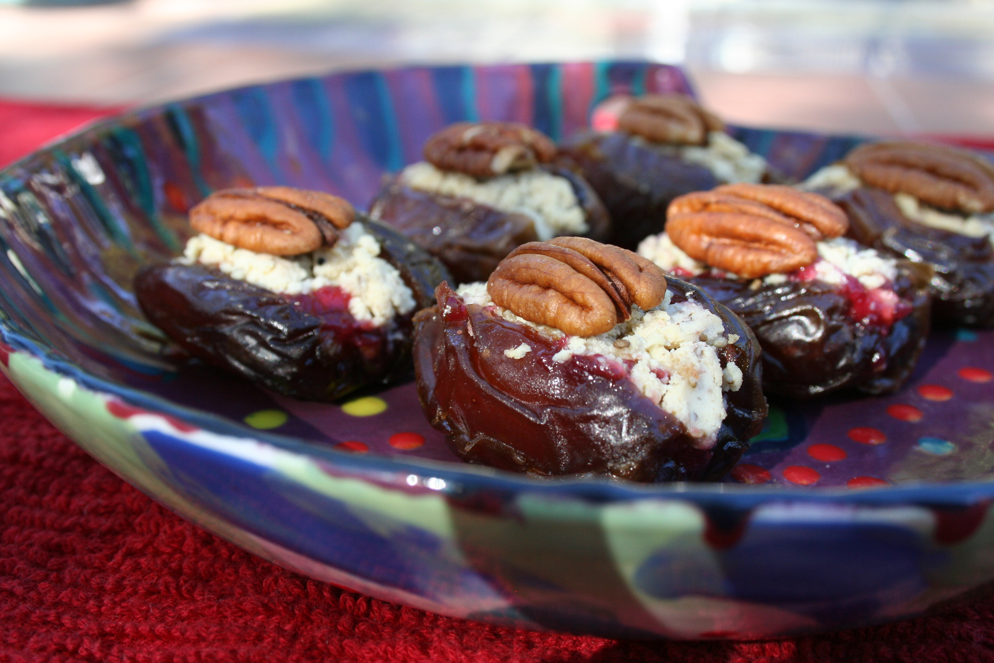 Stuffed Dates with Pecans, Soy Bleu, and Cranberry