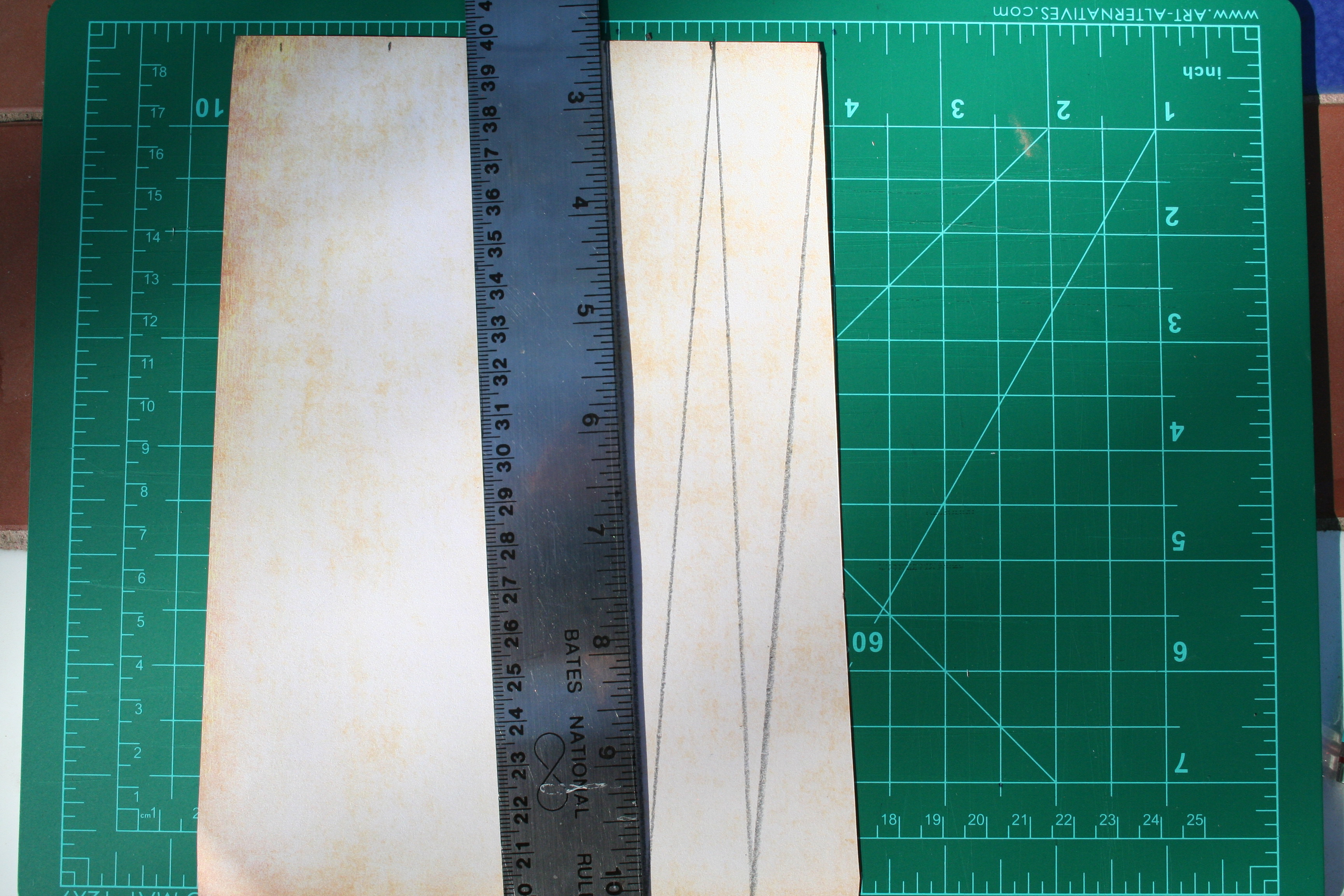 Paper marking lines to be cut.
