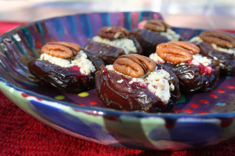 Cranberry Stuffed Dates close up.