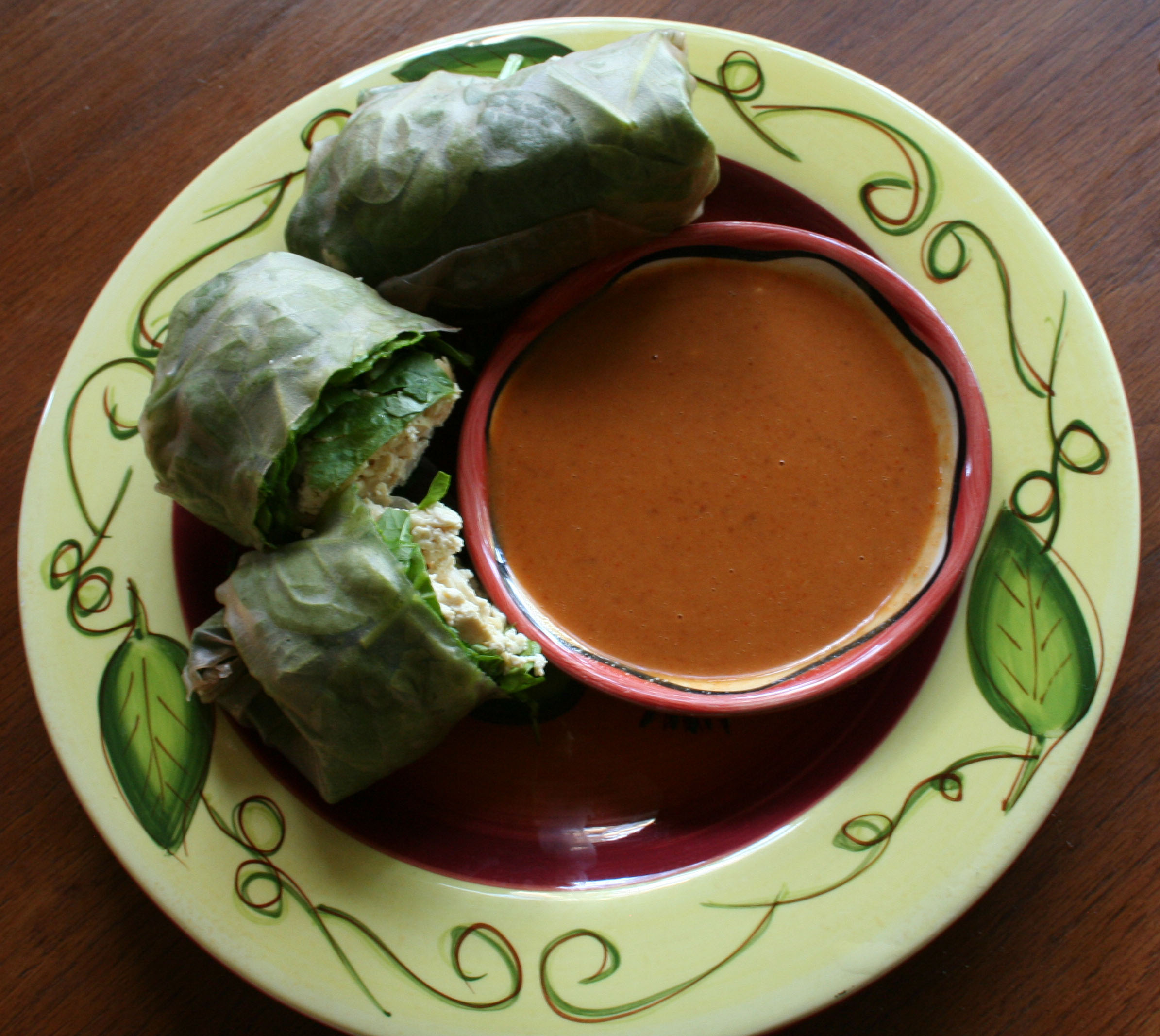 Tofu Spring Rolls with Peanut Dipping Sauce