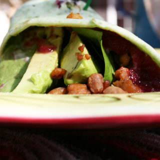 Tempeh Avocado Wrap with Tahini and Cranberry Sauce (vegan, gluten free) - This sweet and savory wrap is healthy and satisfying.