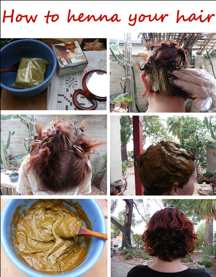 Step by step photos of how to henna your hair with text.