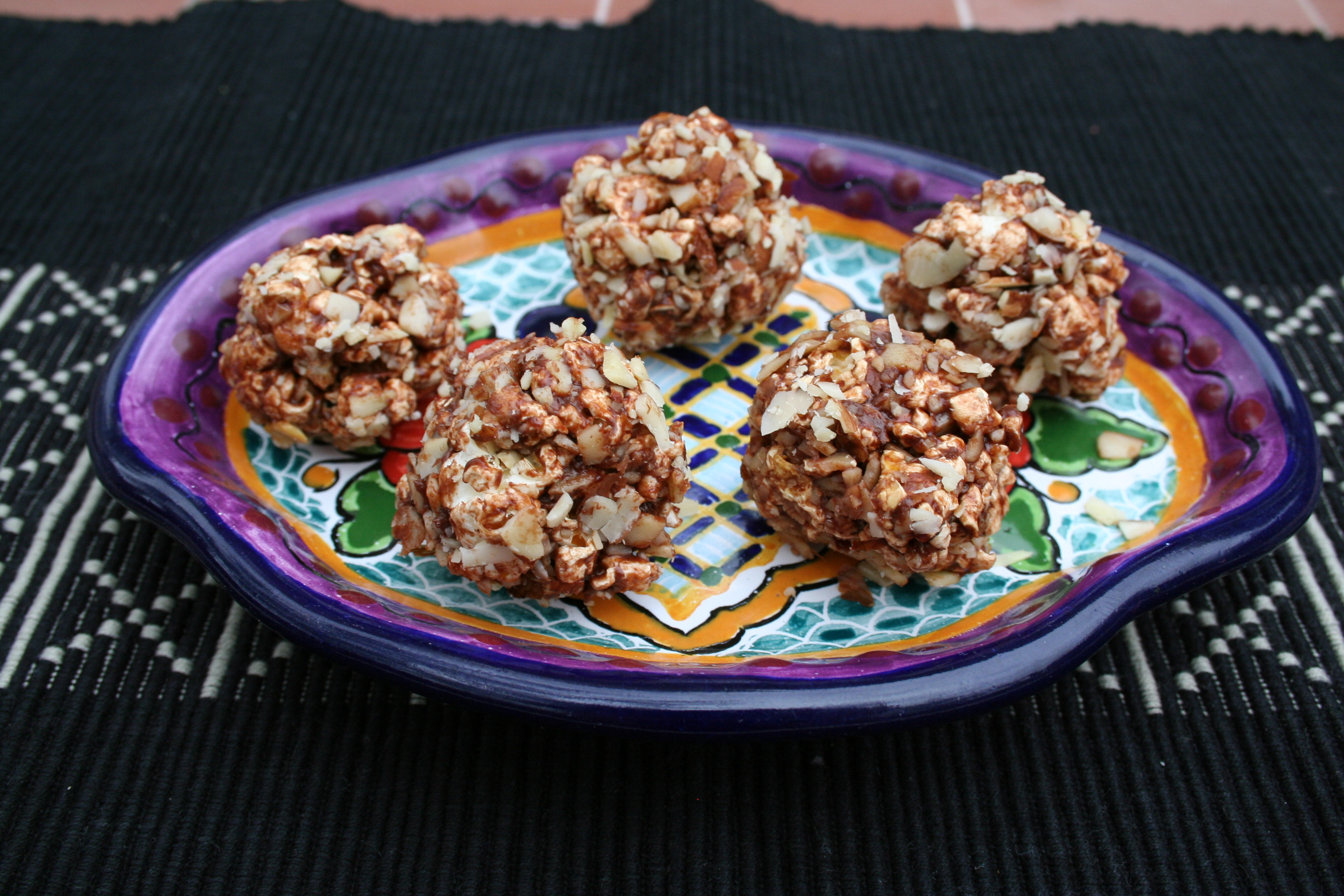 Sweet Treats with Chocolate - Popcorn Balls with Chocolate and Almonds