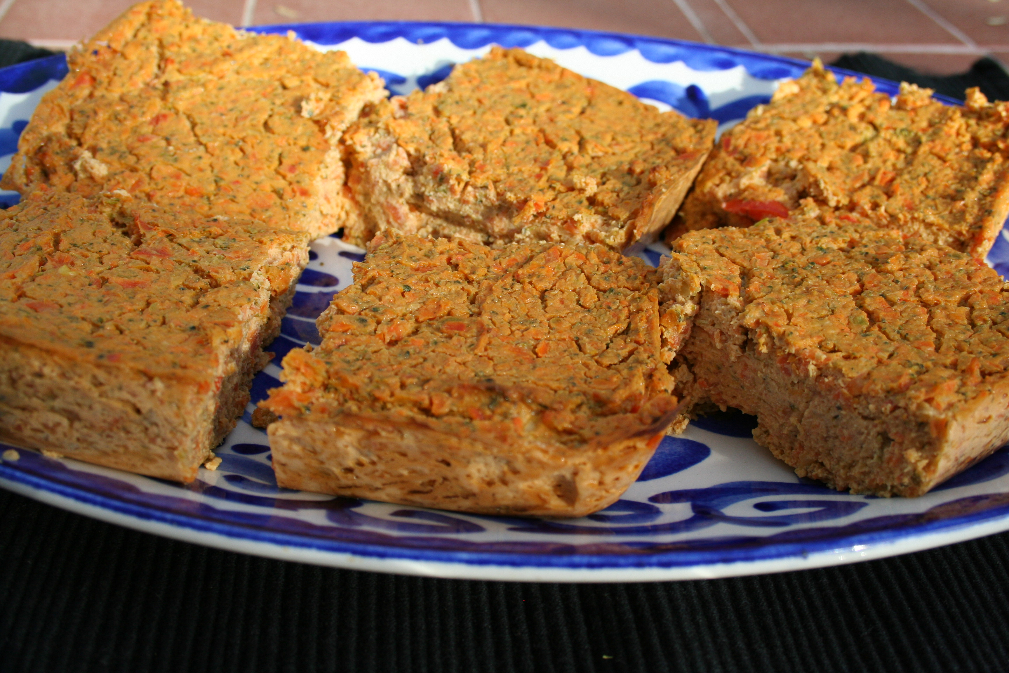 Tofu Frittata slices close up.