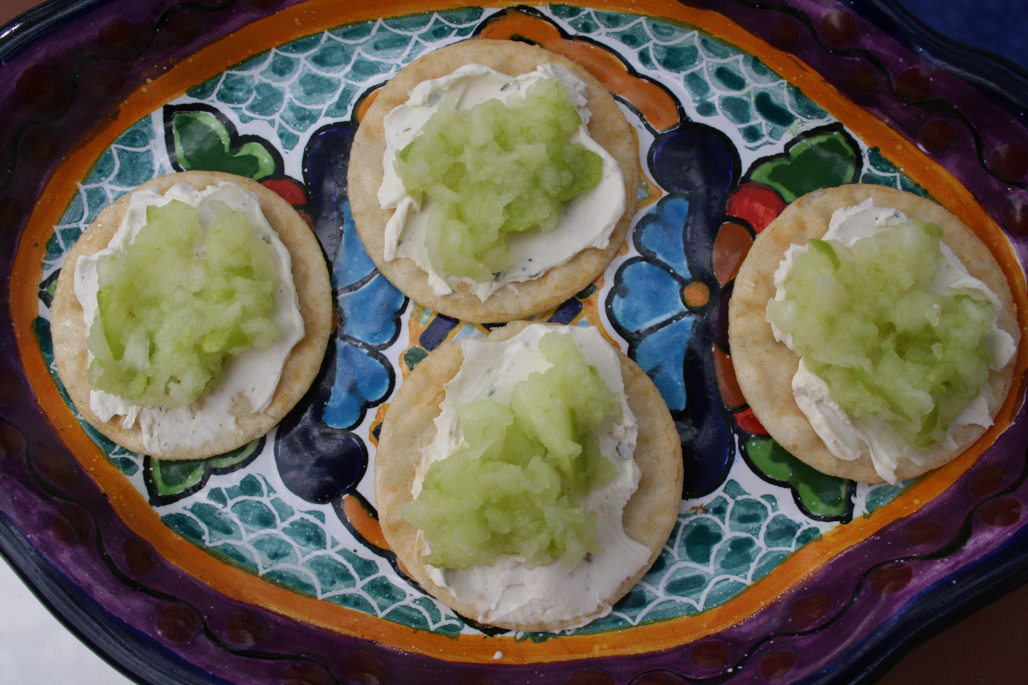 Wasabi Crackers with Tofutti and Applesauce