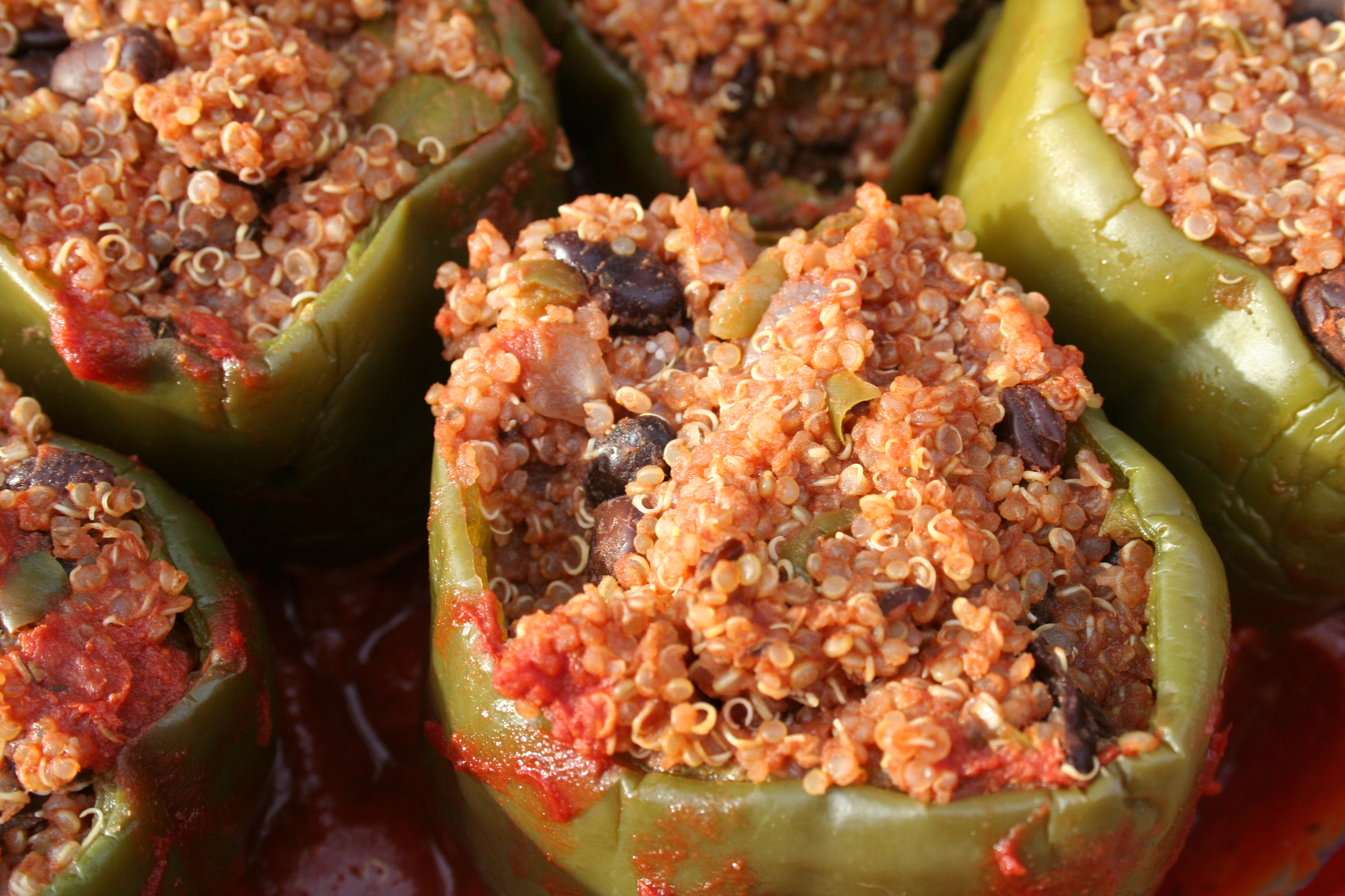 Stuffed Green Peppers close up.