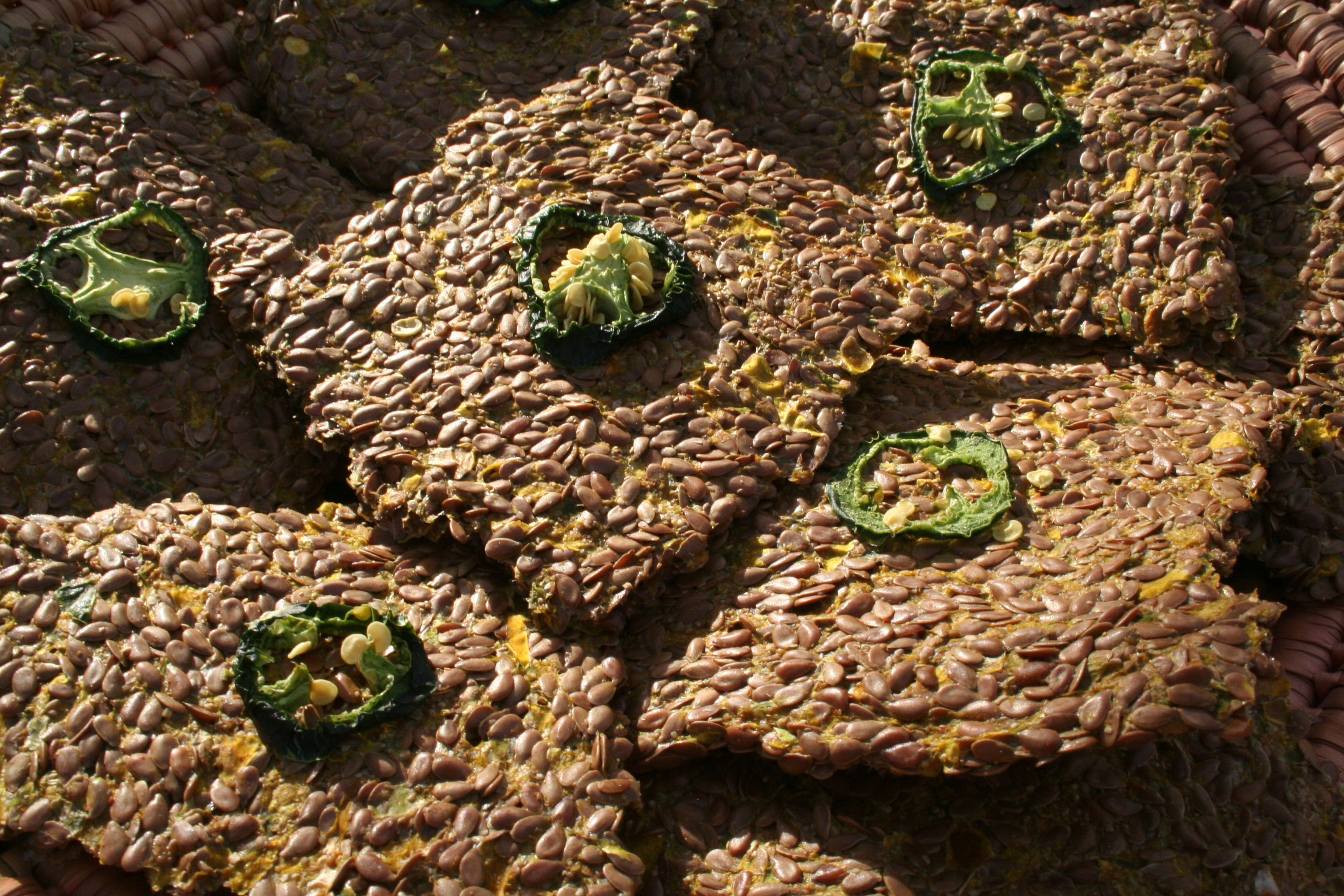 Spicy Flax Crackers close up.