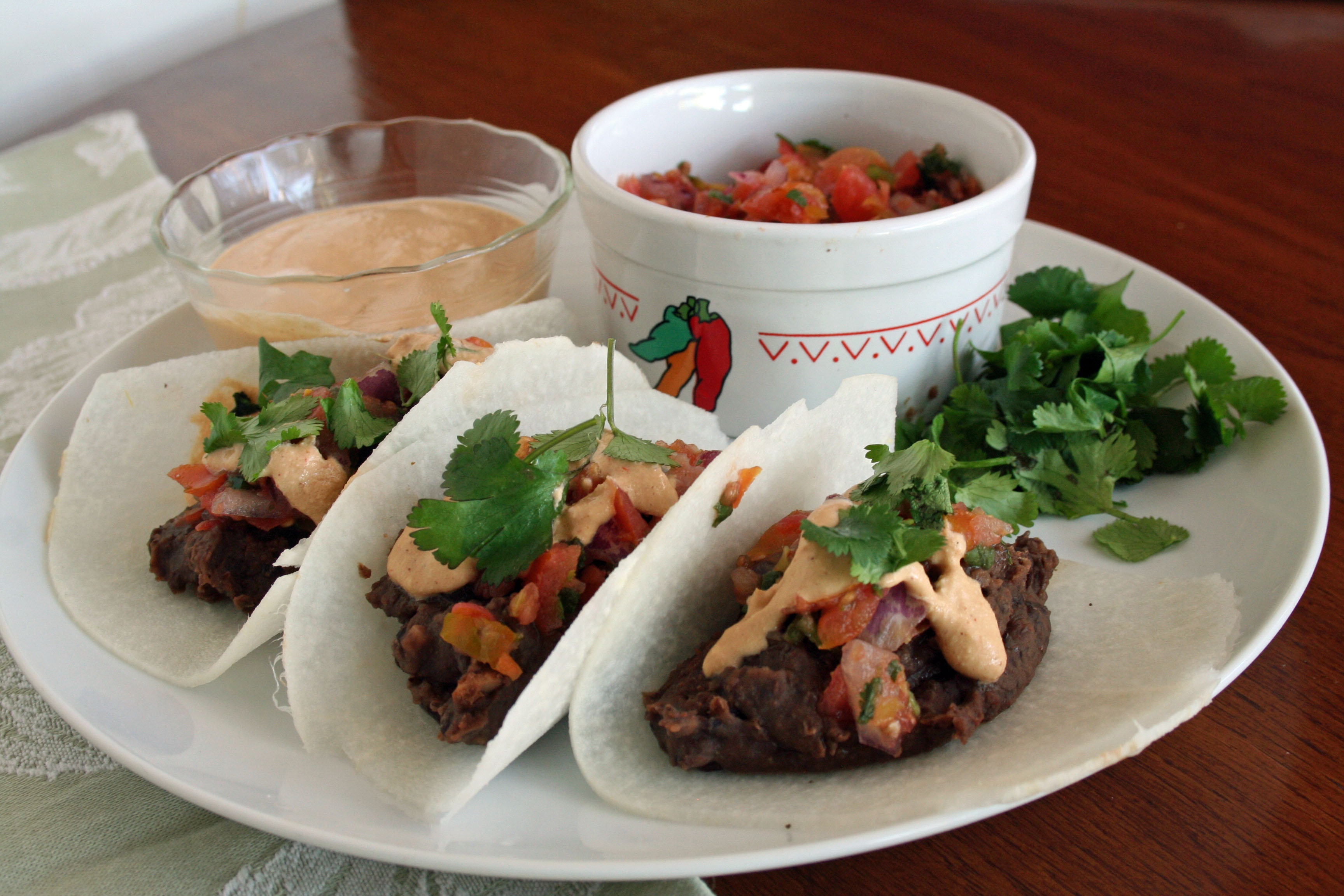 Black Bean Jicama Tacos with Chipotle Cream