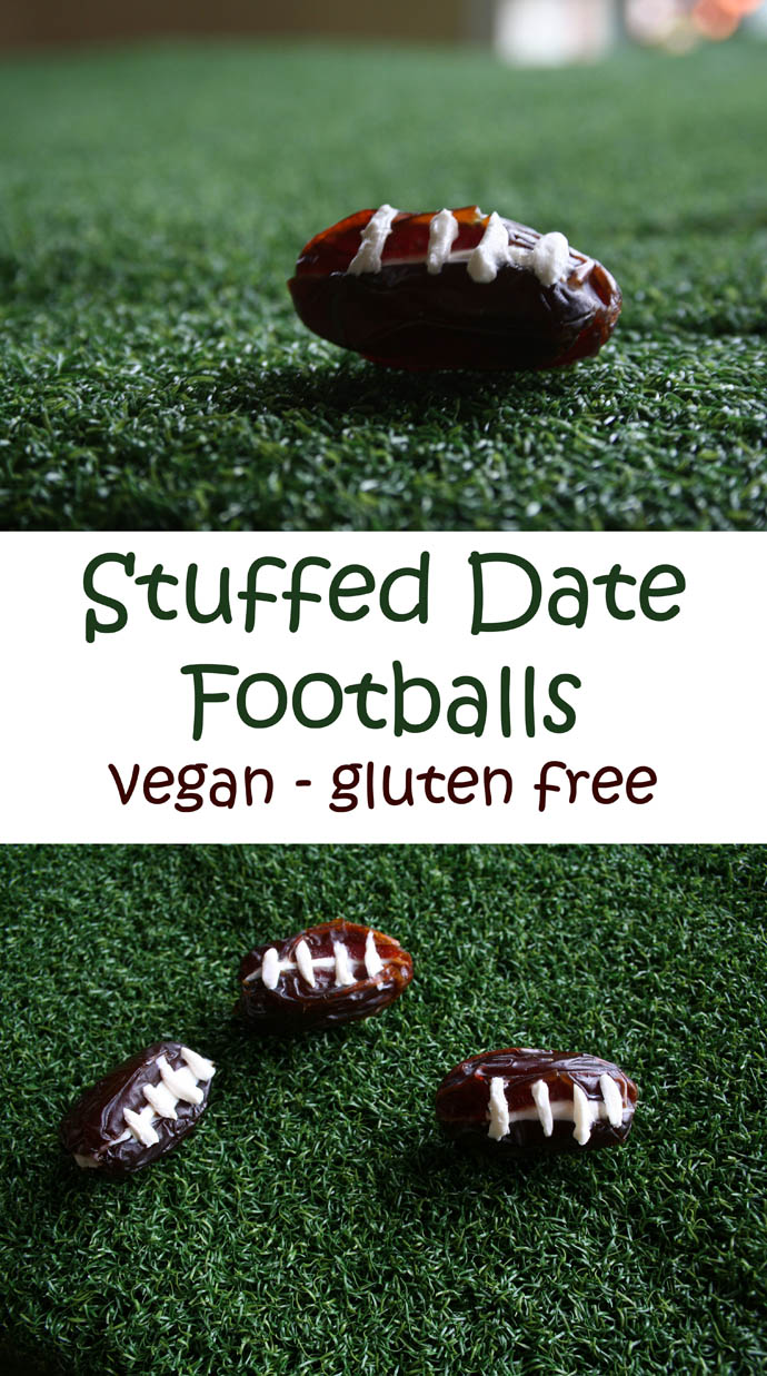 Stuffed Date Footballs collage photo with text.