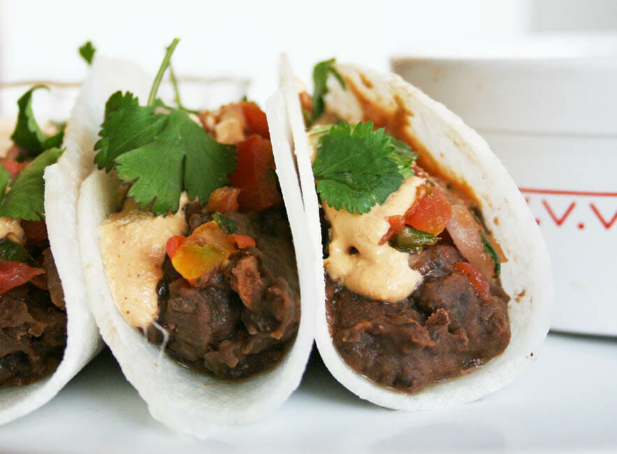 Black Bean Jicama Tacos with Chipotle Cream close up.