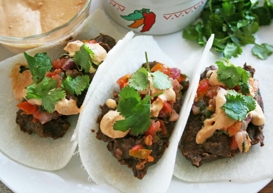 Black Bean Jicama Tacos with Chipotle Cream horizontal shot.