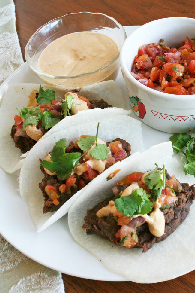 Black Bean Jicama Tacos with Chipotle Cream vertical.