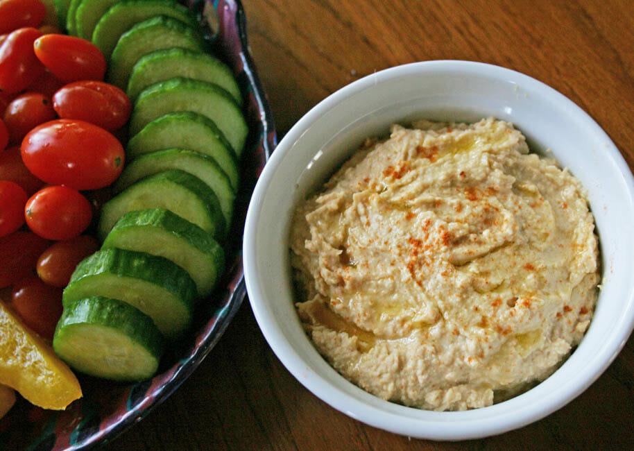 Roasted Garlic Hummus horizontal close up.