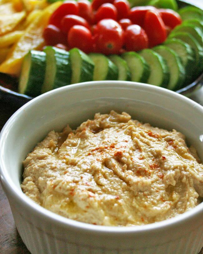 Roasted Garlic Hummus vertical close up.