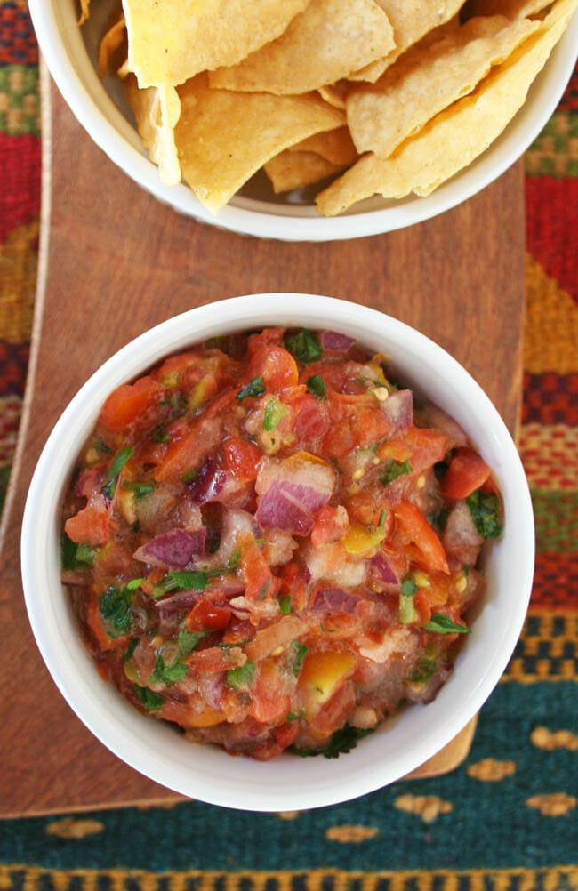 Salsa Fresca con Serrano / Fresh Salsa with Serrano vertical birds eye shot.
