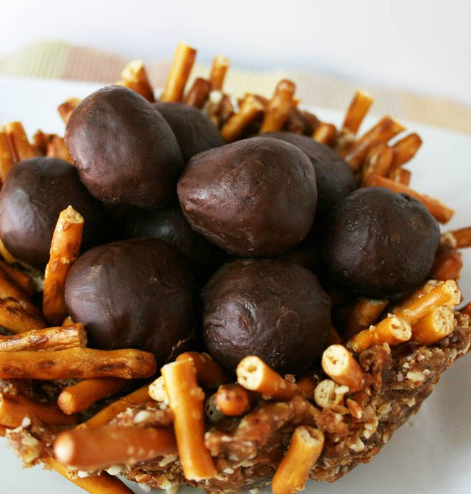 Chocolate Truffle Eggs with an Almond Date Nest for Easter
