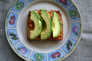 Avocado and vegan chipotle mayo on brown rice toast.