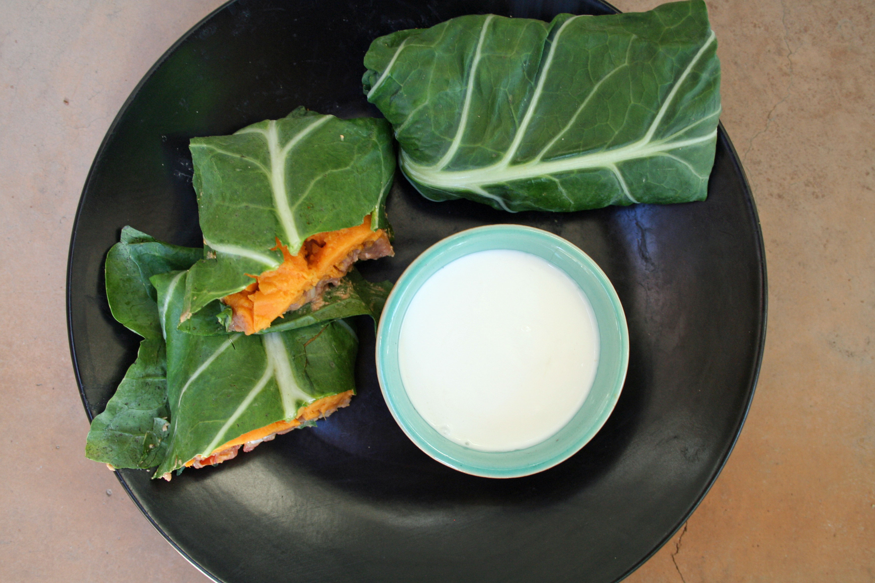 Sweet Potato and Bean Collard Wraps