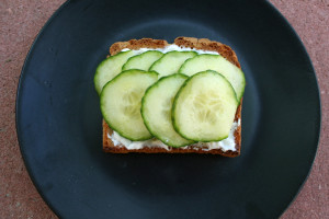 Tofutti cream cheese and cucumbers on toast.