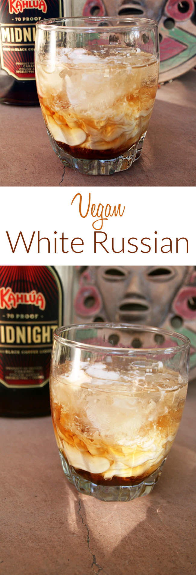 Vegan White Russian collage pin with and text.