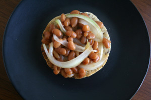 Baked beans and sliced onion (both heated) on toast or English muffin.