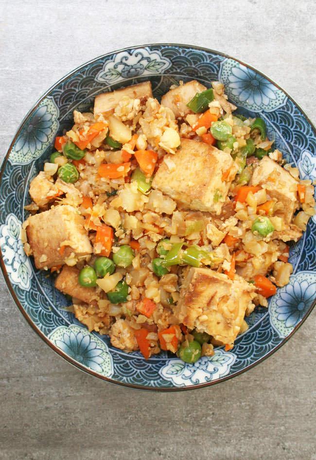Fried Cauliflower Rice with Tofu birds eye view.