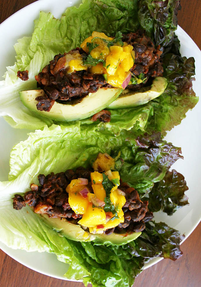 Maple Chipotle Black Bean Lettuce Wraps with Mango Salsa birds eye view.