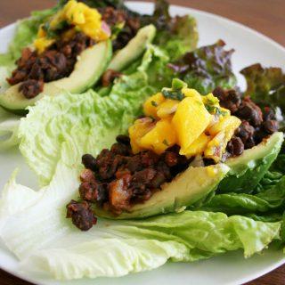 Maple Chipotle Black Bean Lettuce Wraps with Mango Salsa