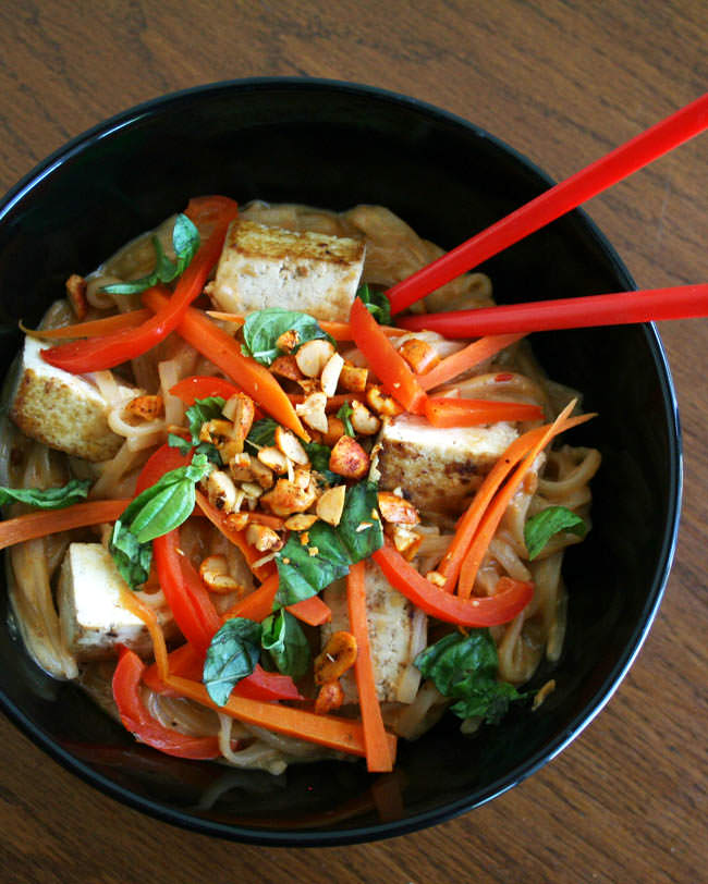 Tofu and Thai Noodles with Peanut Sauce vertical.