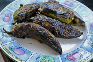 Roasted Green Chiles on a plate