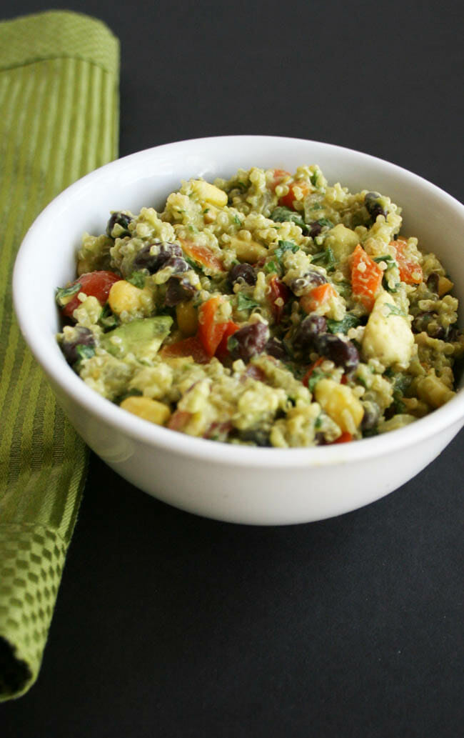 Black Bean Quinoa Salad with Avocado Cilantro Dressing with napkin.