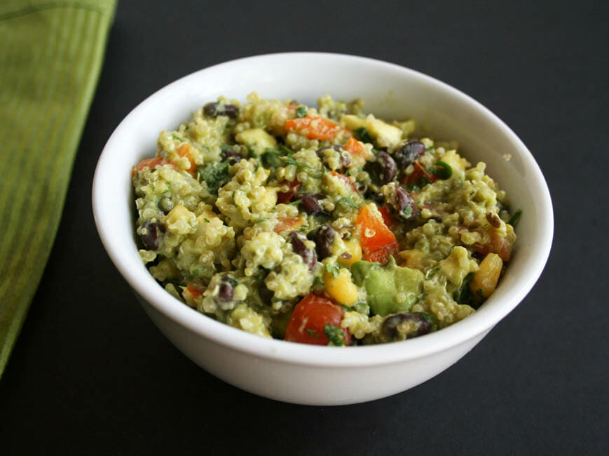 Black Bean Quinoa Salad with Avocado Cilantro Dressing close up.