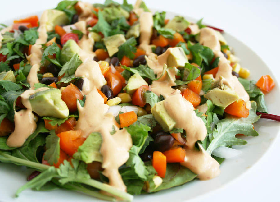 Southwestern Black Bean Salad with Chipotle Dressing close up.