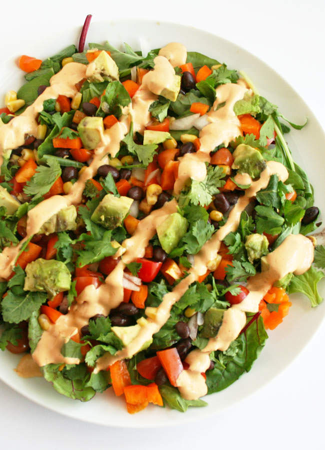 Southwestern Black Bean Salad with Chipotle Dressing bird's eye view