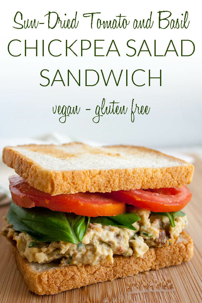 Sun-Dried Tomato and Basil Chickpea Salad Sandwich photo with text.