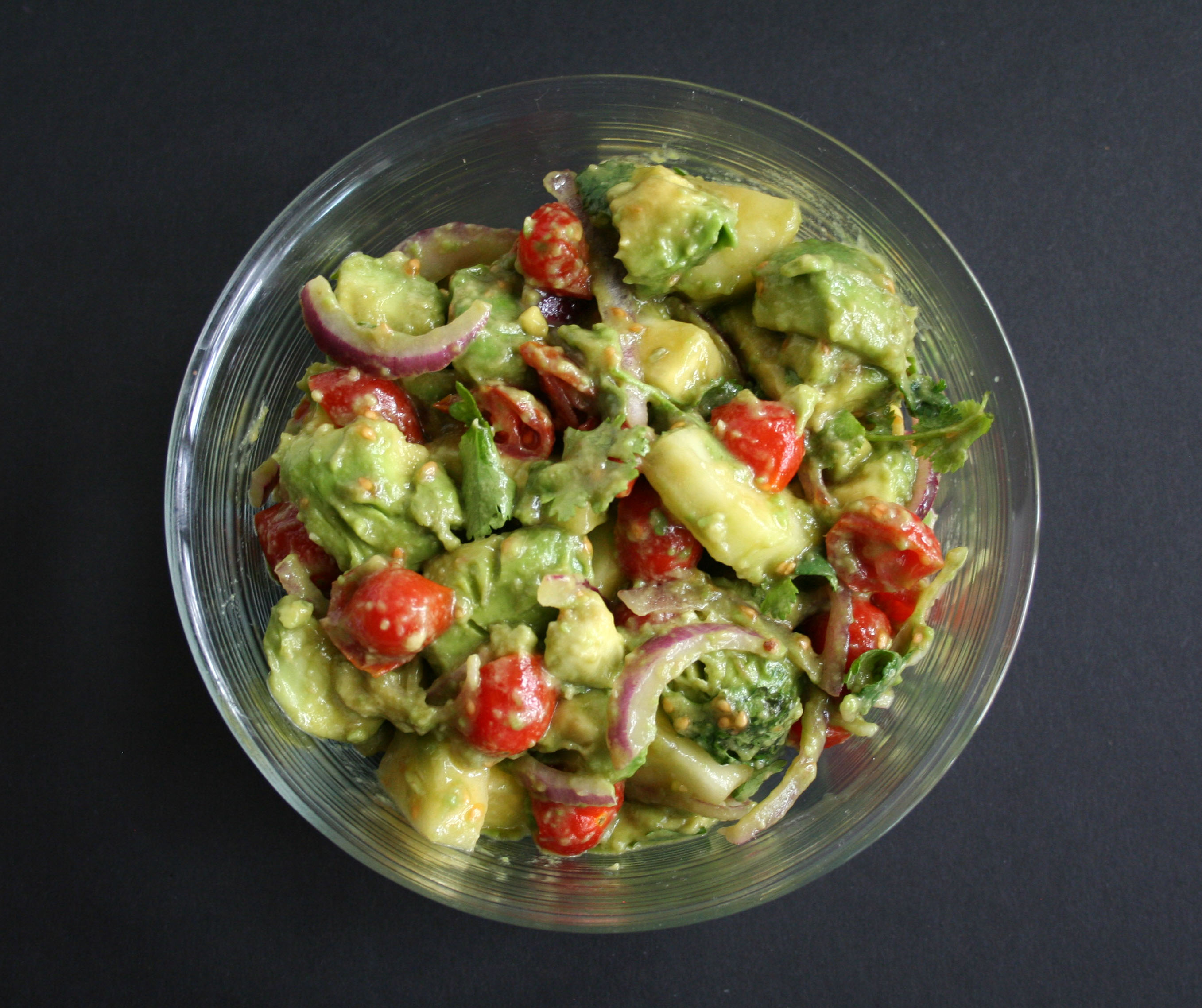 Avocado Cucumber Tomato Salad birds eye view.