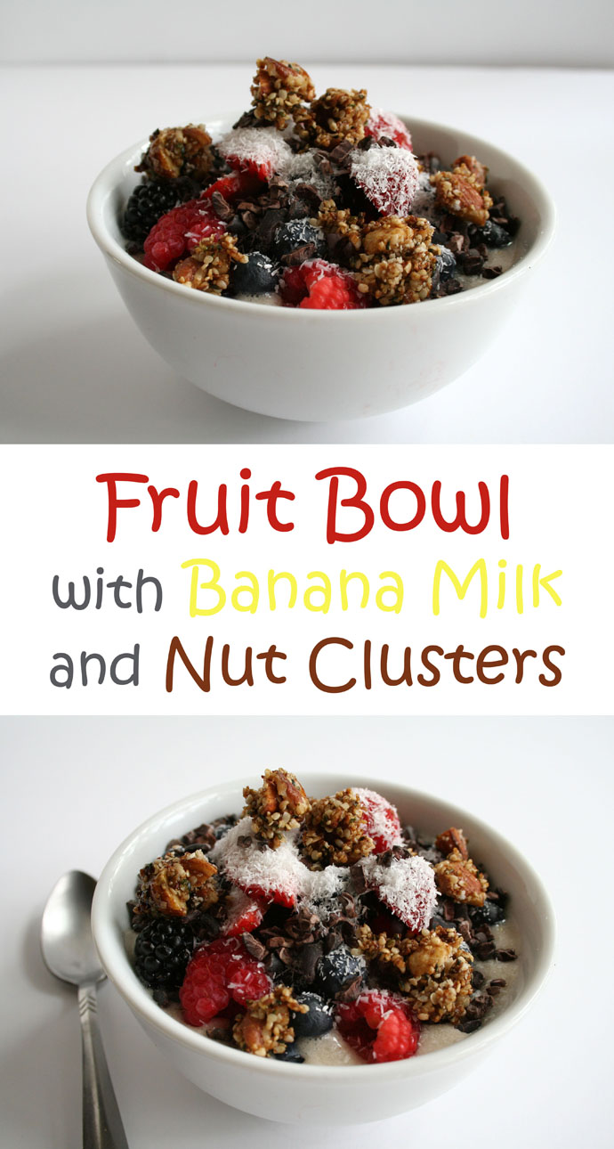 Fruit Bowl with Banana Milk and Nut Clusters collage photo with text.