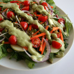 Vegetable Salad with Avocado Cucumber Dill Dressing