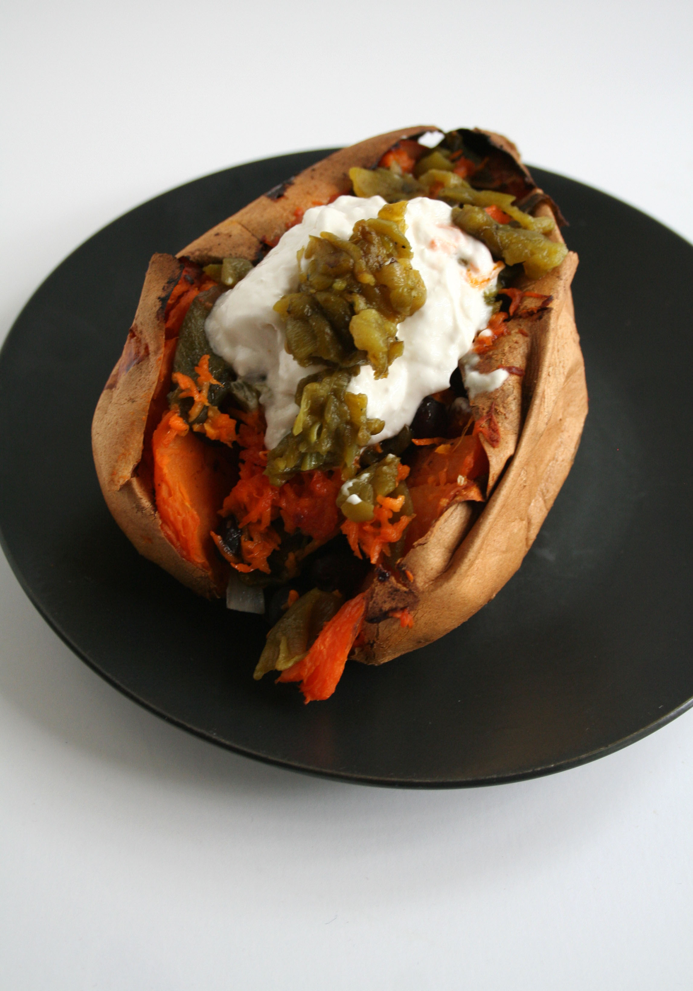 Loaded Sweet Potato on plate.