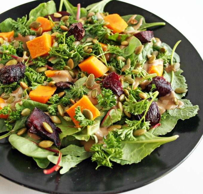 Roasted Beet and Butternut Squash Salad with Maple Tahini Dressing