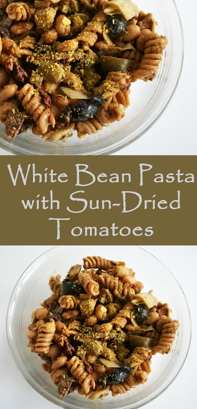 White Bean Pasta with Sun-Dried Tomatoes collage photo with text.