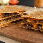 Caramelized Onion and Roasted Red Pepper Vegan Quesadilla