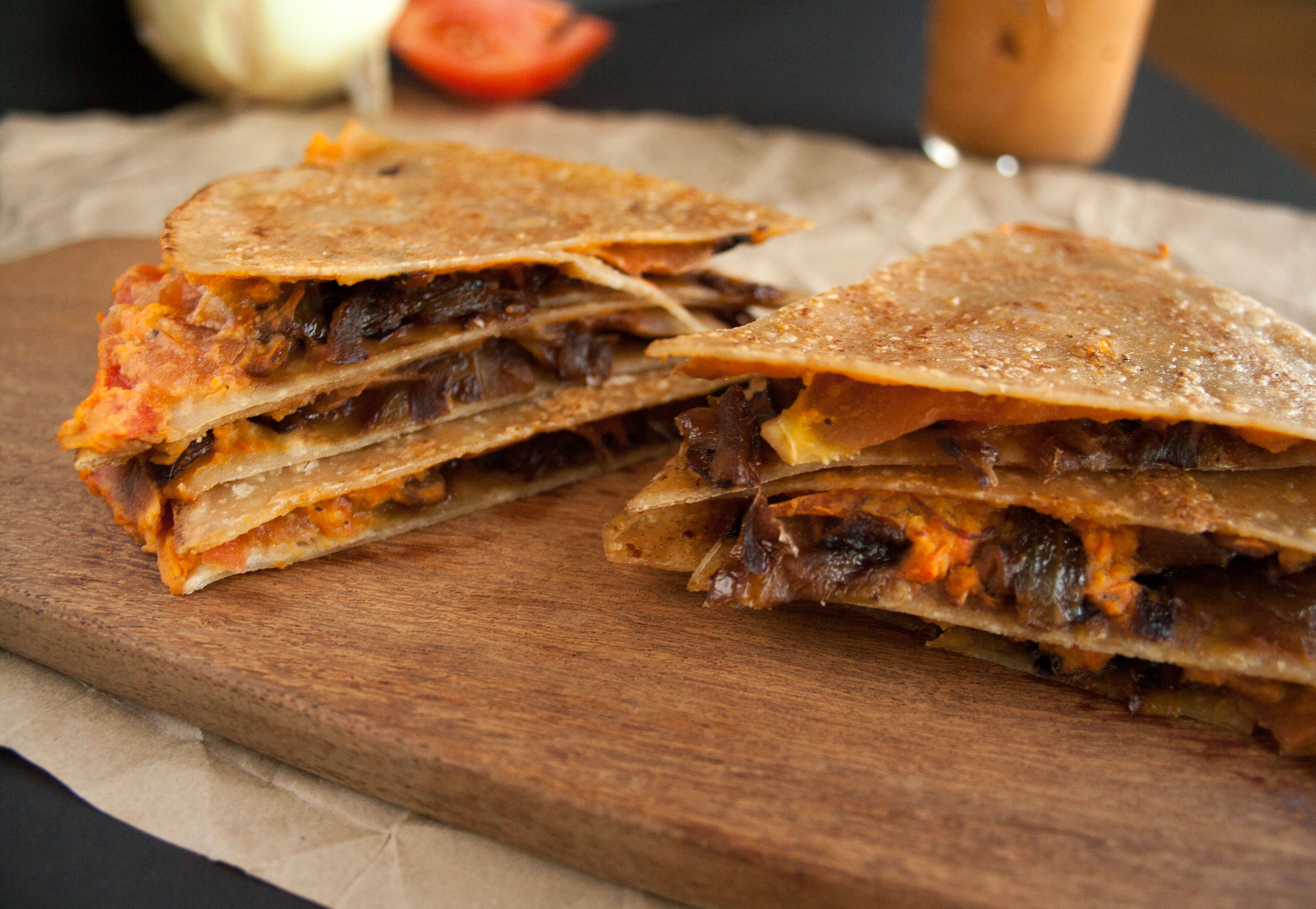 Caramelized Onion and Roasted Red Pepper Quesadilla close up