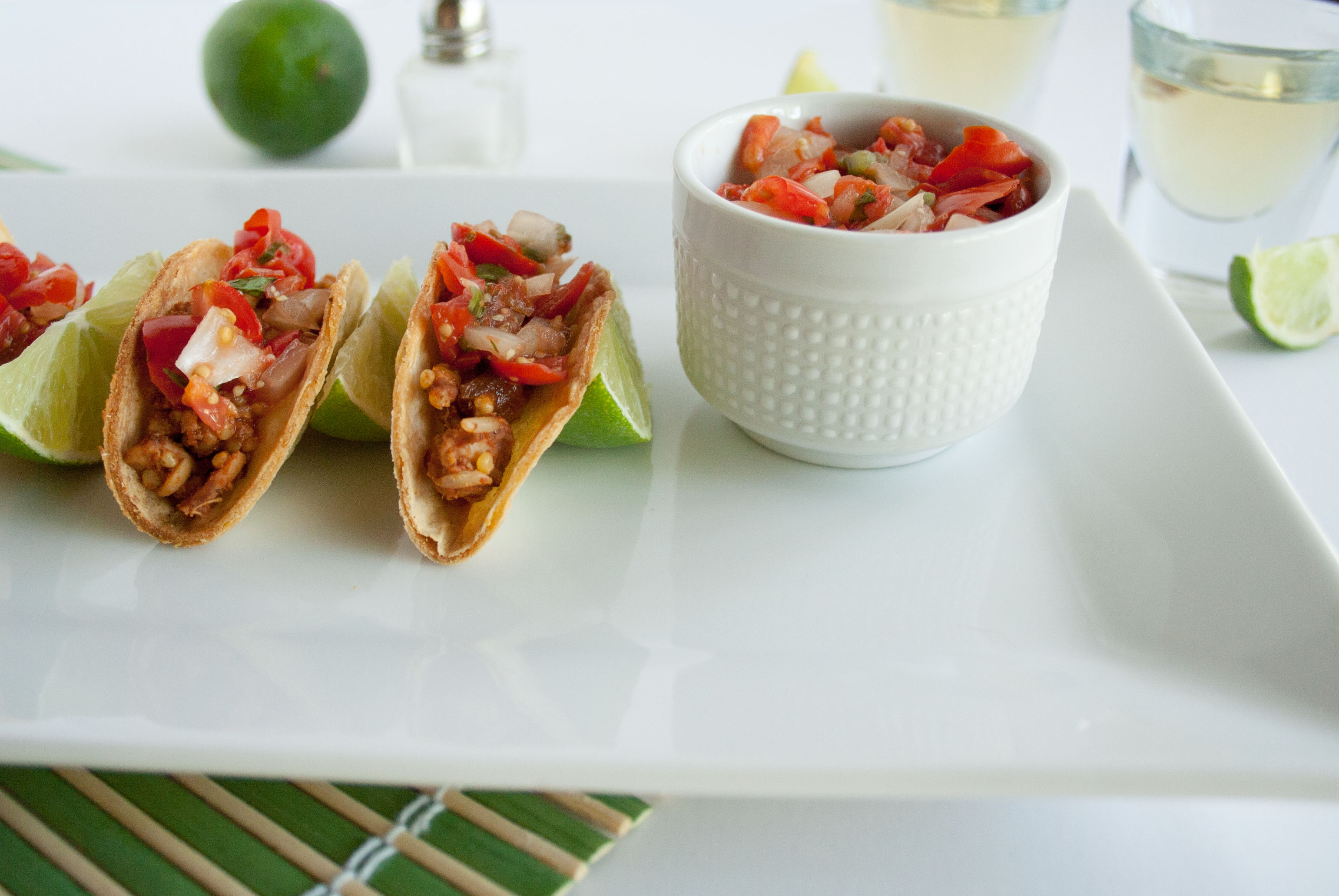 Mini Tempeh Tacos with Pico de Gallo on plate.
