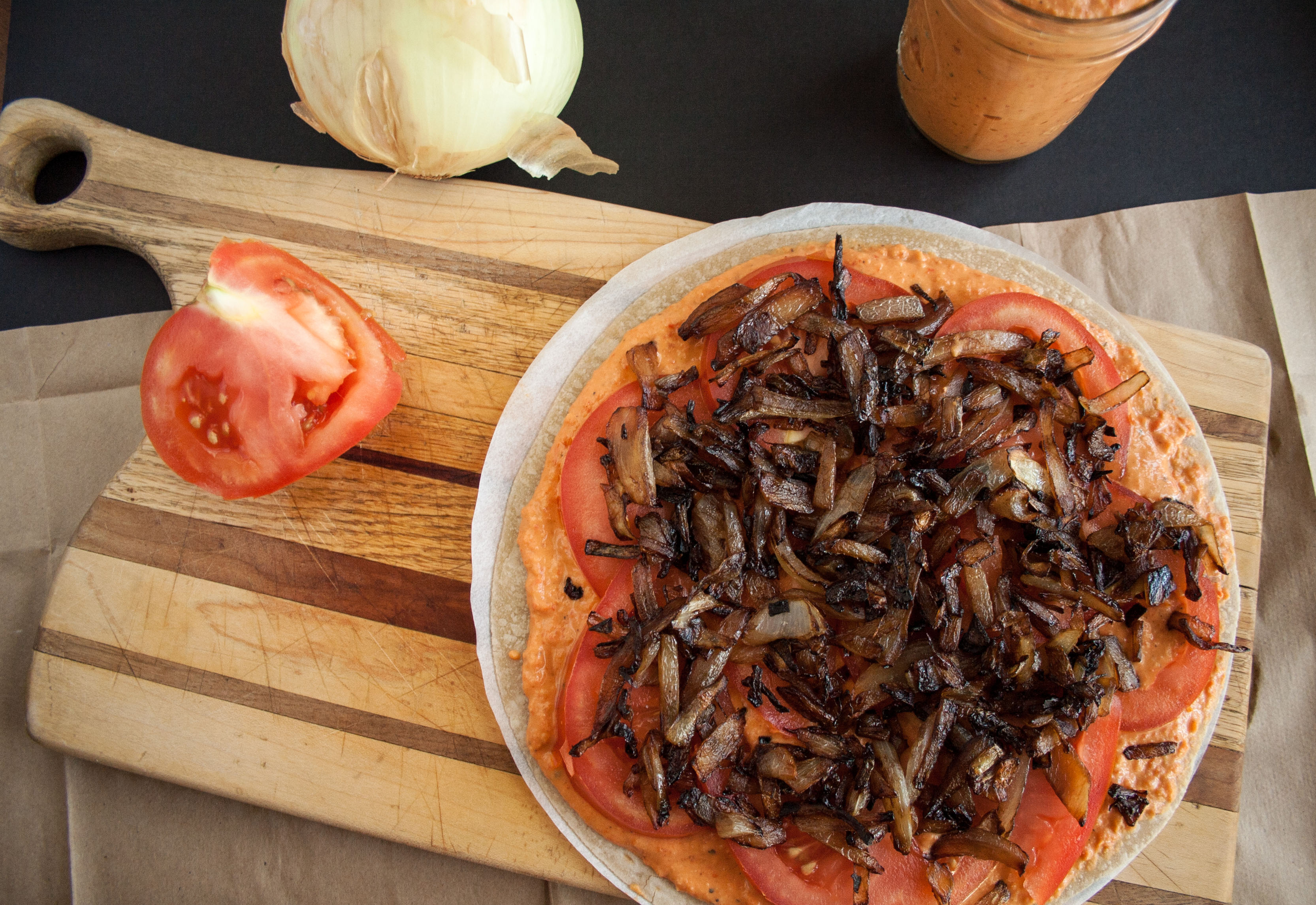 Caramelized Onion and Roasted Red Pepper Quesadilla open faced