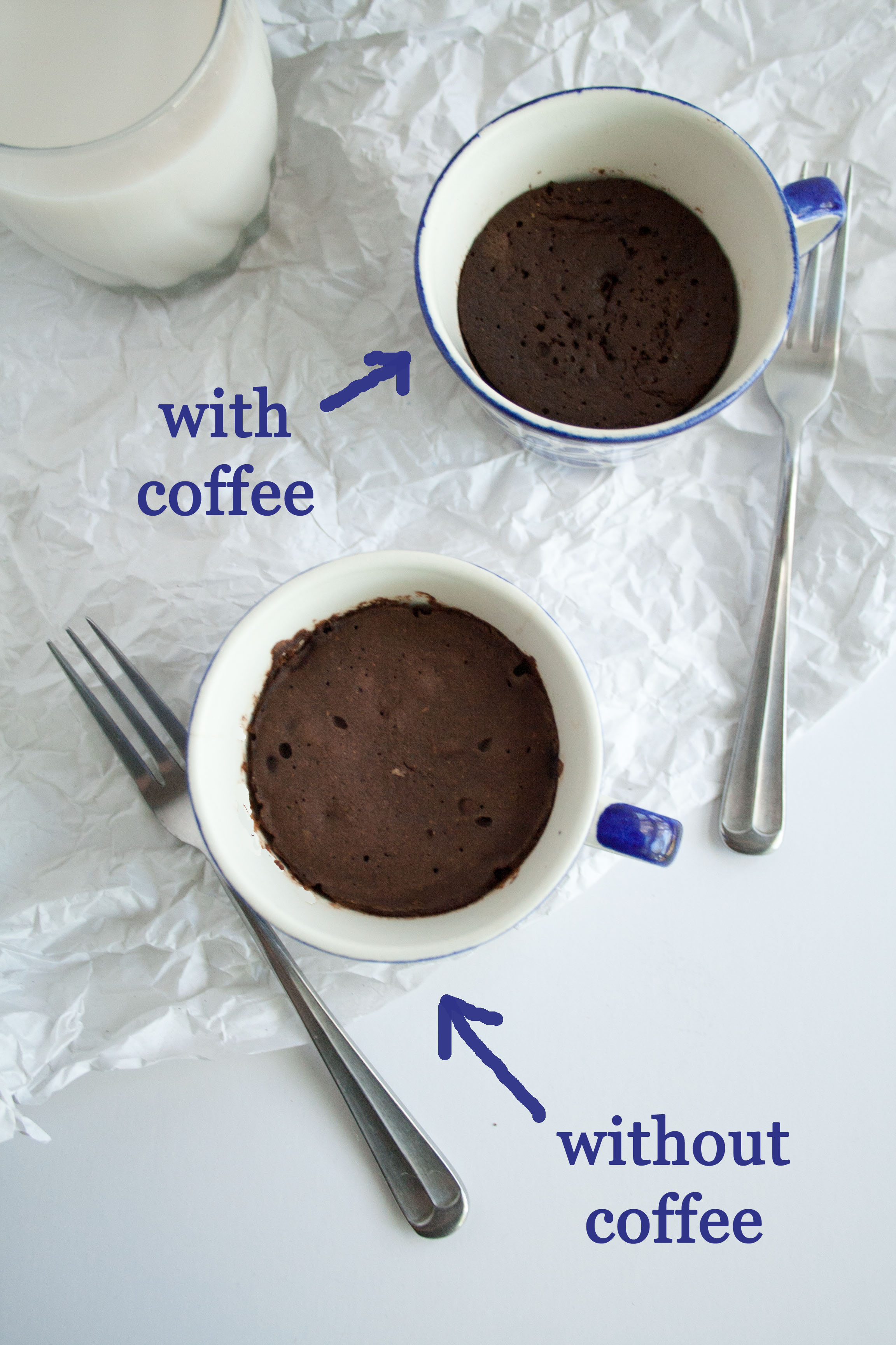 Two Chocolate Coffee Mug Cakes birds eye view: one has coffee, one doesn't.