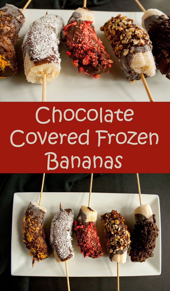 Chocolate Covered Frozen Bananas collage photo with text.