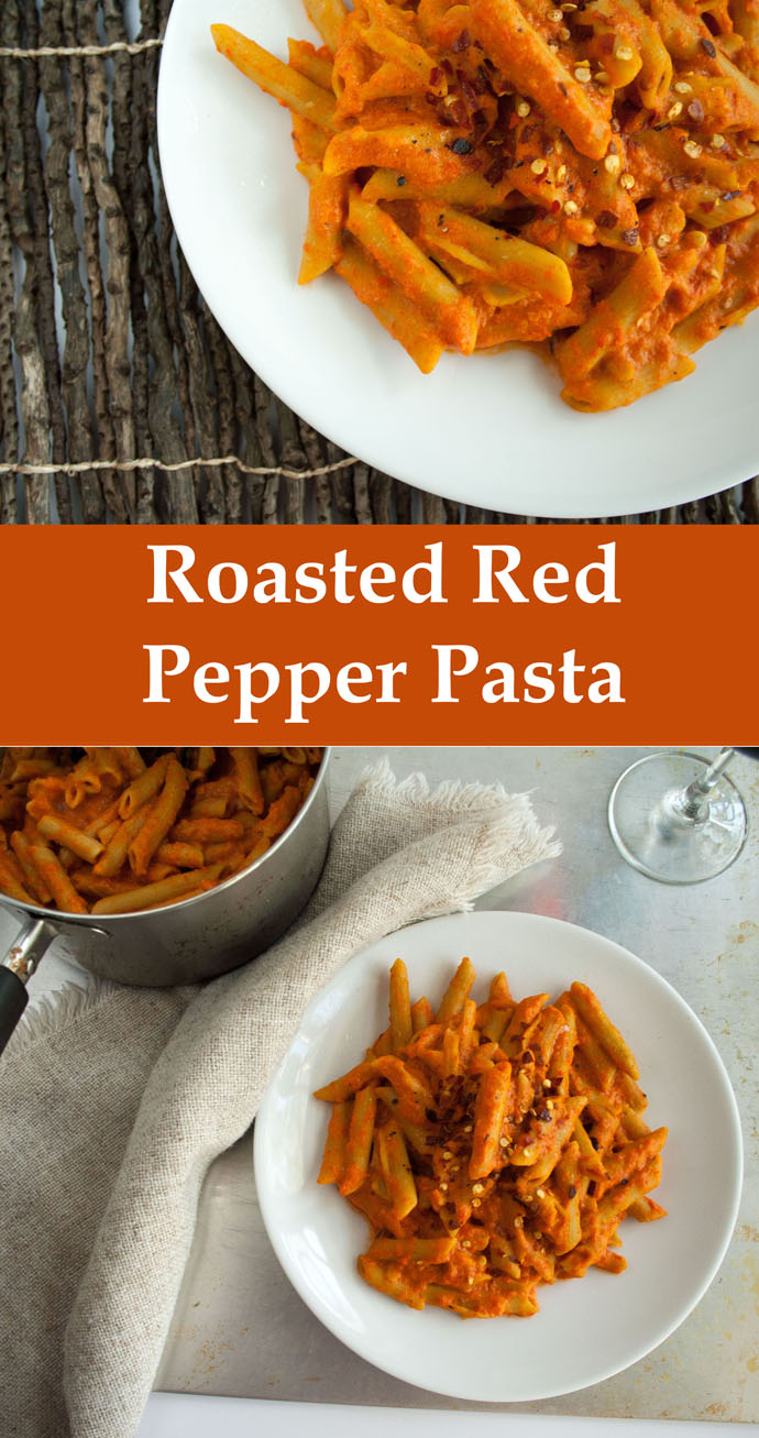 Roasted Red Pepper Pasta collage photo with text.