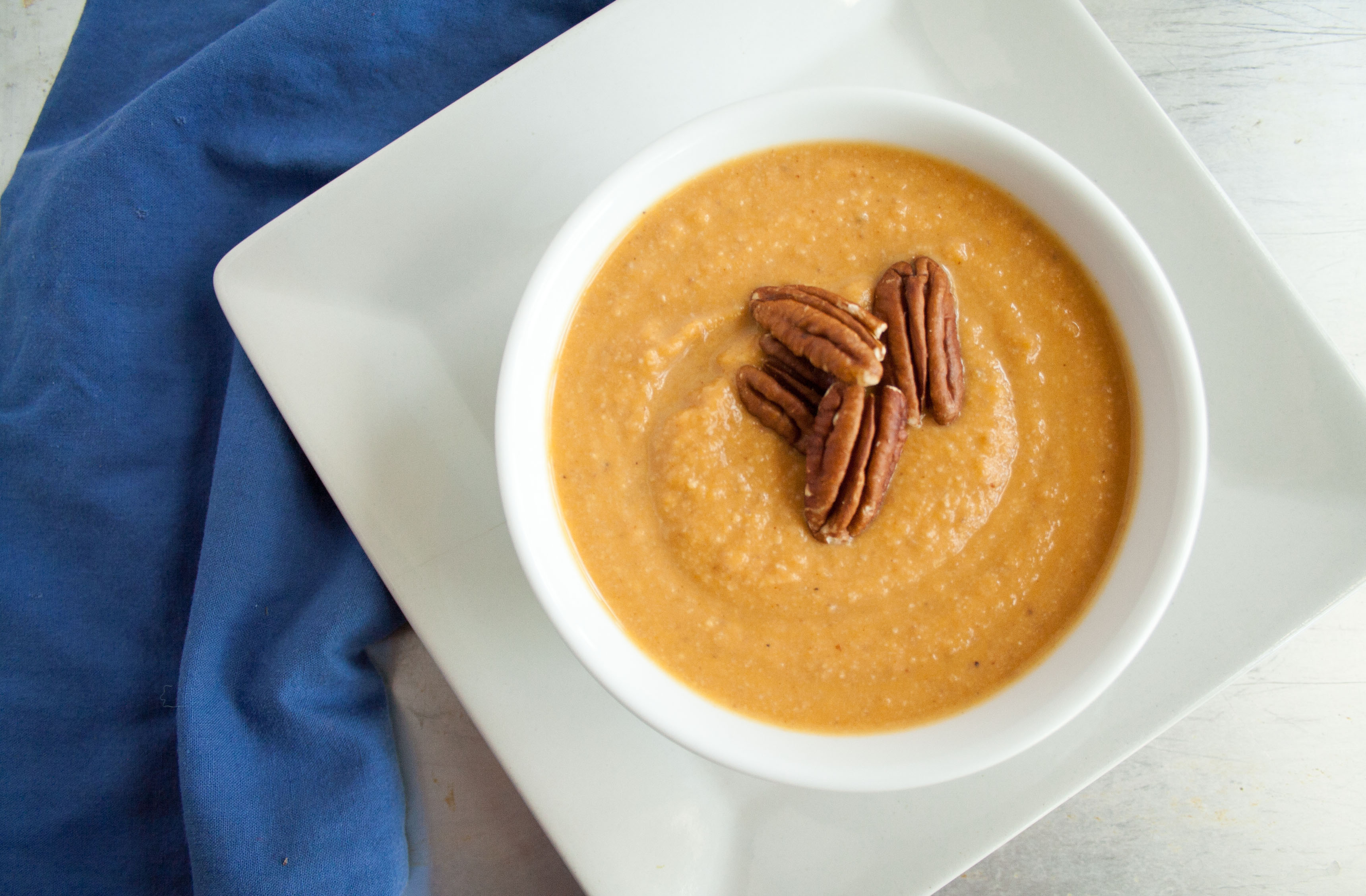 Sweet Potato Soup with Toasted Pecans birds eye view.